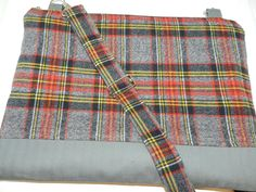 Mac Book Laptop sleeve 15 Inch / / Zipper close,  PC shoulder bag, Messenger Strap, Gray and Red Plaid   by Darby Mack. $42.00, via Etsy.