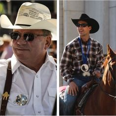 #Stampede2014 Style Recap: Stampede Parade Marshalls @williamshatner and Denny Morrison wear items exclusive to CS Mercantile: @colonellittleton suspenders and a Rockmount plaid shirt.