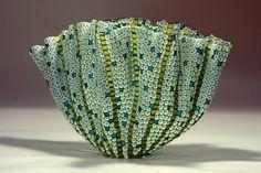 Mel Munsen: Green, Black, White, Turquoise Folded Form (2013).