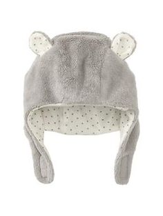 Baby Gap Gray Sherpa Hat with ear flaps 0-6(3?) Months - on sale 3.97 - mom bought