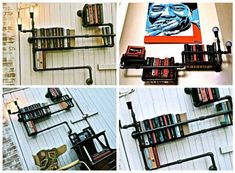 Great industrial and adaptative design by Stella Bleu design, bookshelves made from recycled plumbers. #Bookshelf, #Lights, #Pipe, #Recycled #RecycledFurniture, #RecyclingMetal