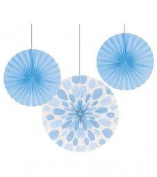 Papierfächer-Set - pastellblau - 3-teilig