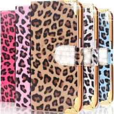 Customize Cell Phone Case Glitter Sexy Leopard With Card Slot Leather Flip Case Diamond Wallet Bag Cover For Iphone 6/6plus Samsung Galaxy S6/S6 Edge Cell Phone Case Wallet From Mayiandjay, $3.39