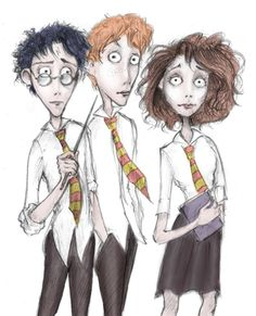 The Harry Potter Characters inspired by Tim Burton drawn by PiGirl13 @ deviantart