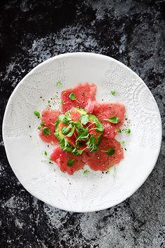 Yellowfin Tuna Carpaccio, Avocado, Ruby Grapefruit & Miso, Ginger Dressing - Temptation For Food #yellowfin tuna #firstcourse