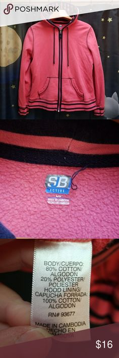 SB Active Hooded Zip Up Sweatshirt Good pre-owned condition. Pink with blue stripes.  Thanks for looking 😉 SB Active Tops Sweatshirts & Hoodies
