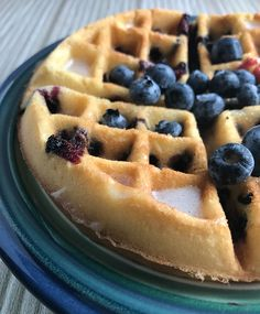 Lemon, Blueberry Poundcake Waffles: Combine pound cake, lemon, and fresh blueberries to make these scrumptious Lemon Blueberry Pound Cake Waffles, perfect for breakfast, brunch, or dessert!