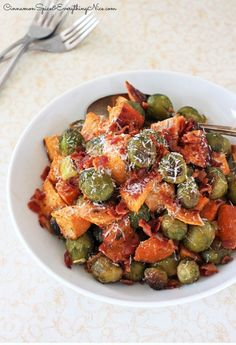 Roasted Brussels Sprouts, Sweet Potatoes and Bacon