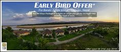 Early Bird Offer for Barahi Jungle Lodge - #Chitwan, Nepal Buy 2N/3Days Package or 2 Nights on Jungle Plan and get the third Night complimentary including meals & taxes. Offer open till 31st July 2015 for bookings between 1st October - 30th April 2016. Email: sales@pugdundeesafaris.com or enquiry@pugdundeesafaris.com Phone: 91-124 - 2970497, 2571404, 2570404 Mobile: +91 8800637711 For more information about the lodge visit : www.barahijunglelodge.com