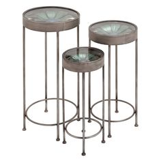 DecMode Glass Top Iron Plant Stand - Set of 3 | from hayneedle.com