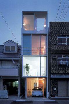 aat+makoto yokomizo architects,Inc. Architecture Design, Facade Design, Contemporary Architecture, Narrow House Designs, Small House Design, Modern House Design, Modern Townhouse, Townhouse Designs, Compact House