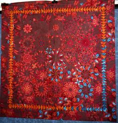T-Orange Brown Turquoise Stack with Geese - Linda Rotz Miller - Flickr - Photo Sharing! - stack or fussy cut quilt red quilt