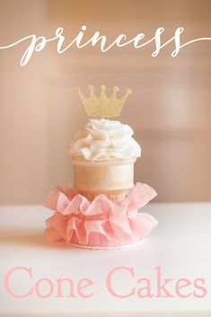Make beautiful and easy cone cakes (cupcakes baked inside ice cream cones) for your little princess. #princess #bringJOYhome #sweets #partyrecipes #recipes #cupcake