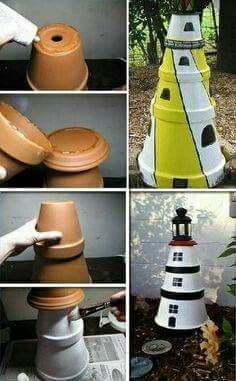DIY Clay Pot Lighthouse - Find Fun Art Projects to Do at Home and Arts and Crafts Ideas Clay Pot Projects, Clay Pot Crafts, Cool Art Projects, Diy Clay, Felt Crafts, Flower Pot People, Clay Pot People, Clay Flower Pots, Flower Pot Crafts