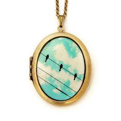 Three Birds Locket Necklace