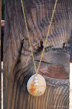 Nautical Moonshell Necklace with pearl dangle, Gold plated chain, Nautical Shell, Moonshell, Ocean theme, shell necklace, Gold plate. $20.00, via Etsy.