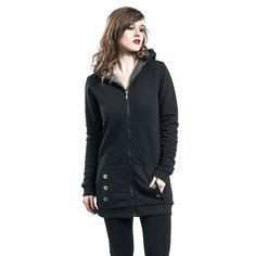 - Two slit pockets - Teddy inner lining - Decorative buttons - Long cut  This Teddy Fleece Coat is one of those items that you will never want to be without! This long hoodie jacket by Pussy Deluxe is equipped with teddy lining and is luxuriously soft. The pockets on the front are decorated with shimmering buttons.
