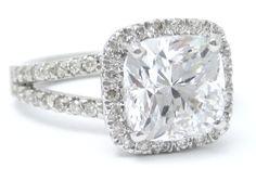 325ctw CUSHION cut split shank style diamond by ninaellejewels, $24,150.00
