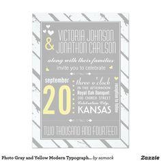 Foto-graue und gelbe moderne Typografie-Hochzeit 12,7 X 17,8 Cm Einladungskarte