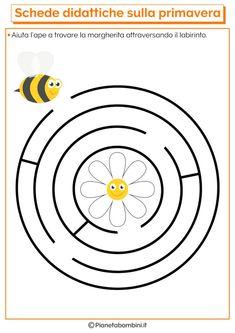 Educational Cards on Spring for the Nursery School - - Bee Activities, Kindergarten Activities, Infant Activities, Preschool Writing, Preschool Worksheets, Bee Life Cycle, Maze Worksheet, Mazes For Kids, Nursery School