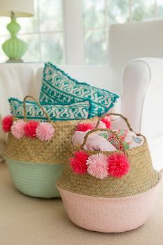 How To DIY Your Own Pom Pom Basket | Gillian Ellis Photography on @acoastalbride via @aislesociety