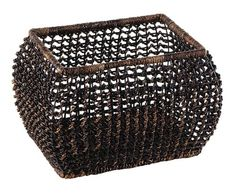 Open Weave Vine Basket in Black Great for closet, bath, pantry, office or toy and game storage. Earth friendly. 17 in. L x 11 in. W x 11.25 in. H (7.65 lbs.) These natural colored baskets add warmth and charm and keep you organized..