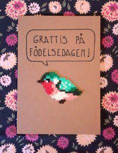 Birthday card with bird made with Hama beads