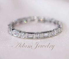 Unique Baguette/Round14K White Gold Wedding Ring/Band Full Eternity Band Solid  SI/H Diamond Engagement Ring/ Promise Ring/ Anniversary Ring by AdamJewelry on Etsy https://www.etsy.com/listing/176895895/unique-baguetteround14k-white-gold