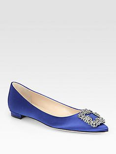If I had a Fairy Godmother, she would bring me these shoes for my wedding. Sigh...  Manolo Blahnik Hangisi Satin Flats