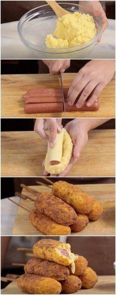 Linguiça Empanada no Palito | Simplesmente D-E-L-I-C-I-O-S-O! (veja a receita passo a passo) #linguiça #linguiçaempanada #linguiçanopalito #tastemade