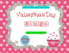 Valentines Day - Bingo is designed to help students learn vocabulary, matching, and how to play a game.  Bingo is a great way to reinforce a concept.  There are two different size game & calling cards for differentiation.  Cards can be laminated and used  with chips or they can simply be printed and students can use daubers or chips.For beginning students or students with short attention spans, I give everyone a copy of the same game card.