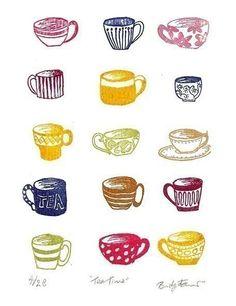 Tea Time, Gocco Screen Print