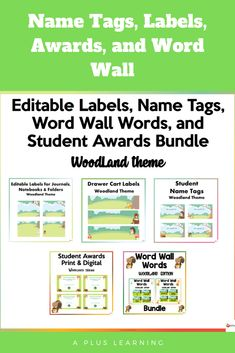 Notebook Labels, Digital Word, Theme Words, Student Awards, Woodland Theme, Name Tags, School Resources, Classroom Organization, Getting Organized