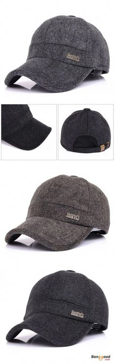 Mens Woolen Thicken With Ear Flaps Baseball Hats Adjustable Warm Snapback  Caps 10df987ec53