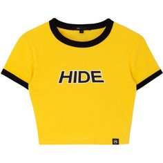 HIDE Contrast Trim Crop Top (460 ARS) ❤ liked on Polyvore featuring tops, crop tops, shirts and cropped tops