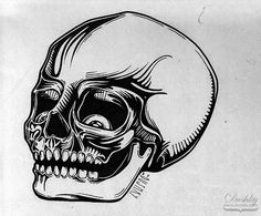 tattoo skull by dushky for uman | #dushky #umanshop #illustration #markerillustration #anatomy #skeleton #skull #cranium #tattoo #design