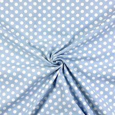 Cotone pois medium 1 - azzurro - Pastello - Blu - Tessuti in cotone a pois - tessuti.com