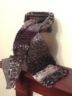 Simple knitted scarf from variegated novelty yarn