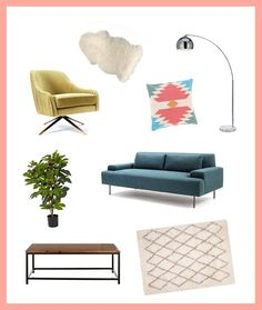 Get the look yourself with a cozy rug + colorful mid-century furniture.