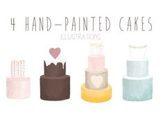 hand-painted cake clipart by The little cloud on Creative Market Pretty Cakes, Beautiful Cakes, Cake Illustration, Illustrations, Cake Clipart, Watercolor Cake, Watercolor Design, Photography Supplies, Hand Painted Cakes