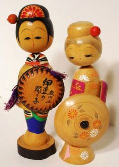 Japanese Kokeshi Wooden Dolls Vintage Set of Two  Original Box  http://stores.ebay.com/beachcats-bargains  beachcats bargains