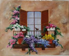 """""""Balcony with Flowers"""" by Lisa Mathews inspired by our YouTube tutorial for acrylic paintings; https://youtu.be/vByxdtgKU-o Love the addition of the bird"""