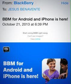 #BBM Blackberry Messenger ya está disponible para iPhone & android... Gente pasenme su Pin jajaja