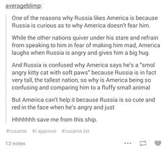 Remember the club episode? Yeah, America was definitely scared of Russia then....why must I do this to every post I see??