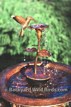 Metal Garden Art Hummingbird Solid Copper Dripper Fountain - Add a beautiful water feature to your garden, yard, our outdoor space. Add the fountain to a bird bath for a whimsical touch of garden decor. Garden Care, Hummingbird Bird Bath, Bird Bath Fountain, Fountain Garden, Garden Fountains, Water Fountains, Rock Fountain, Indoor Fountain, Tabletop Fountain