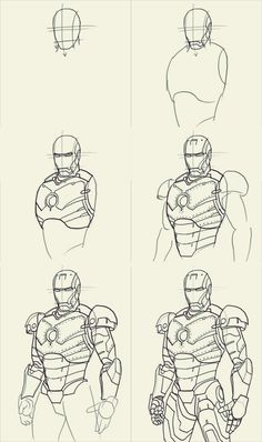 Cartoon Drawings How to draw iron man : 10 Step by Step Examples - Here, you'll learn how to draw iron man. Thankfully, if you are one of those who like to draw your favorite hero Iron Man, you need go to the extent of ha Avengers Drawings, Drawing Superheroes, Drawing Cartoon Characters, Character Drawing, Cartoon Drawings, Pencil Art Drawings, Drawing Sketches, Drawing Reference, Figure Drawing