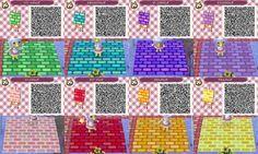 Animal Crossing New Leaf colorful paths QR codes