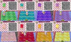 Animal Crossing: New Leaf - green, blue, purple, lilac, pink, red, orange, yellow brick path QR-code