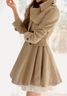 What an Adorable Flared Double-Breasted Trench Coat -(shoulder button tabs) - love this !