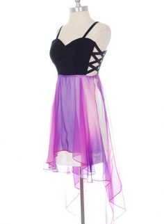 Chiffon Purple High Low Dress with Criss Cross Sides,  Dress, high-low dress  cutout, Chic
